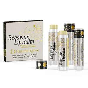 HUMMINGBEE Beeswax Moisturizing Lip Balm with Vitamin E and Honey - 100% natural ingredients – 4 tubes