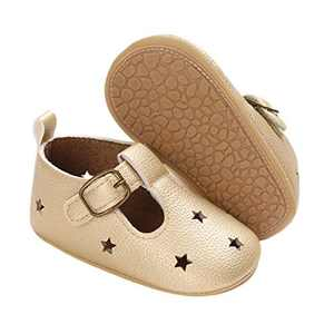 TMEOG Baby Soft Rubber Sole PU Leather Shoes Toddler First Walkers Infant Newborn Baby Dresses Casual Shoes Seasons (A - Golden, 0_Months)