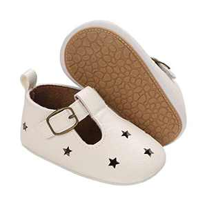 TMEOG Baby Soft Rubber Sole PU Leather Shoes Toddler First Walkers Infant Newborn Baby Dresses Casual Shoes Seasons (A - White, 12_Months)
