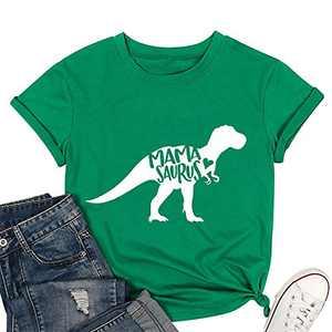 T&Twenties Mama Dinosaur Shirt Cute Mama Saurus Shirts for Women Casual Mom Dinosaur Mama Saurus Graphic Tee Shirt