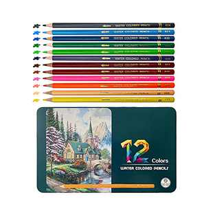 12 Colored Pencils Watercolor Pencils Set for Adult Coloring Books, Multi Colored Art Drawing Pencils for Kids Adult Shading, Sketching, Painting, Blending, Crafting