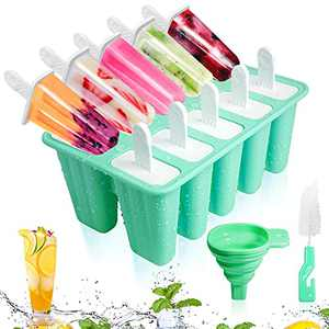 Popsicle Molds-Silicone Ice Pop Reusable Popsicle Moulds for Kids,Easy Release Ice Pop Maker with Silicone Funnel and Cleaning Brush (10 Cavities, Green)