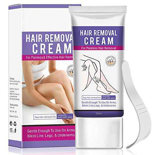 Hair Removal Cream - Flawless Depilatory Cream for Underarm, Bikini, Legs, Arms Body - Painless Natural Hair Removal Cream for Women and Men - Sensitive Skin Hair Remover Cream - with Plastic Scraper