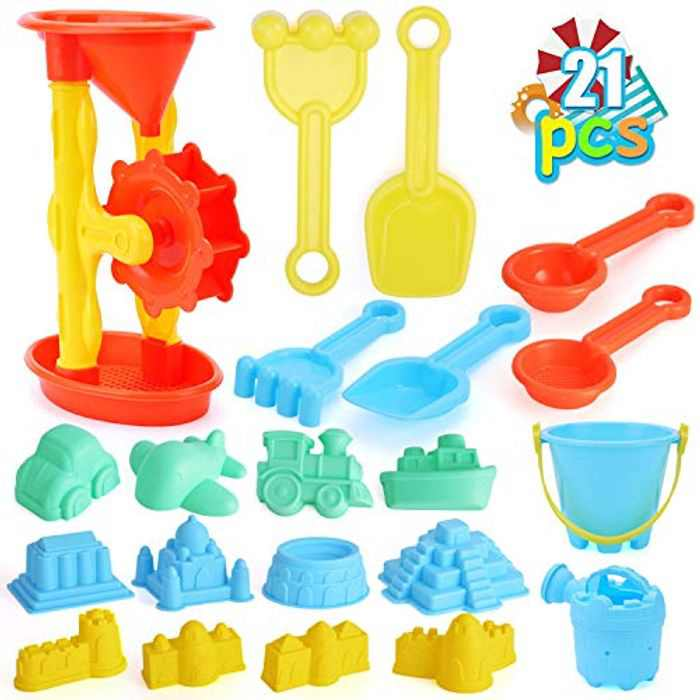 DraMosary 22pcs Beach Sand Toys Set for Kids with Assembled Sand Water Wheel, Beach Bucket, Watering Can, Shovel Tool Kits and Castle Models&Molds in A Mesh Bag for Toddlers Baby Boys and Girls
