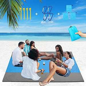 Beach Blanket, 108 by 82.7 inche Sand Free Large Beach Blanket Sandproof and Waterproof Beach Mat, Lightweight Picnic Mat for Travel, Camping and Hiking Suitable for 5-10 People