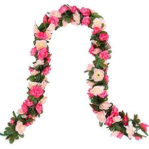 Beferr 2 Pcs Artificial Rose Flower Garland, Fake Silk Rose Vine with Leaves, Wall Hanging Plants for DIY Wreath Home Wedding Garden Party Office Decoration, Indoor and Outdoor Use (Pink)