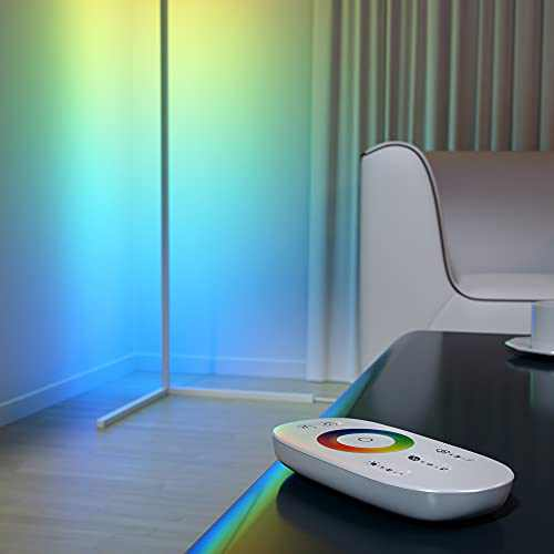 Myriad365 RGB Corner Floor Lamp - LED Color Changing Floor Lamp with Remote Control, 356 Color Modes, Multicolor, Dimmable - White