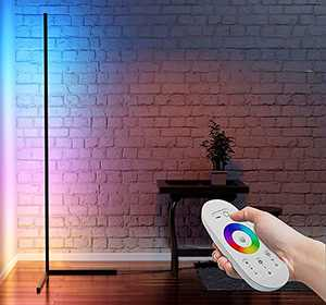 Myriad365 RGB Corner Floor Lamp - LED Color Changing Floor Lamp with Remote Control, 356 Color Modes, Multicolor, Dimmable - Black