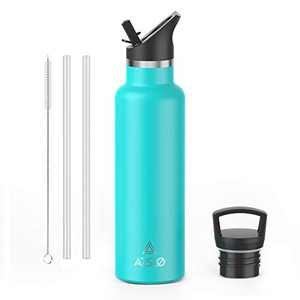 Arslo Stainless Steel Double Wall Water Bottle,Vacuum Insulated Bottle With Straw Lid,Insulated Water Bottle Keeps Water Cold for 24hours,17oz,Emerald Green