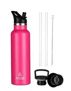Arslo Stainless Steel Double Wall Water Bottle, Vacuum Insulated Bottle With Straw Lid, Insulated Water Bottle Keeps Water Cold for 24 Hours, Hiking, Sports, Outdoor, 25 oz