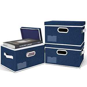 BALEINE Storage Bins with Lids (3 Pack Blue Medium), Foldable Linen Fabric Storage Boxes with Lids, Collapsible Closet Organizer Containers with Cover for Home Bedroom Office