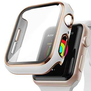 AISIBY Case Compatible with Apple Watch Series 6/5/4/se 40mm with Built-in Tempered Glass Screen Protector,Rose Gold Edge White Bumper Full Coverage HD Clear Protective Film Cover for Women Men