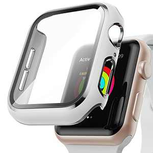 AISIBY Case Compatible with Apple Watch Series 3/2/1 42mm with Built-in Tempered Glass Screen Protector,Silver Edge White Bumper Full Coverage HD Clear Protective Film Cover for Women Men