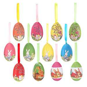 Easter Ornaments, 12pcs Vintage Style Mache Paper Easter Egg Hanging Ornaments Easter Hanging Decoration for Tree