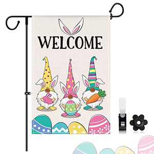 LASPERAL Gnome Welcome Garden Flag, Spring Garden Flag, Small Cute Garden Flags for Outside 12X18 Inch, Double Sided Decorative Happy Easter Bunny Holiday Yard Flag for Outdoor Easter Spring Yard Flag