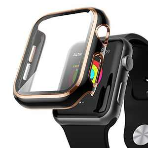 AISIBY Case Compatible with Apple Watch Series 3/2/1 42mm with Built-in Tempered Glass Screen Protector,Rose Gold Edge Black Bumper Full Coverage HD Clear Protective Film Cover for Women Men