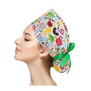 lycycse Working Cap with Buttons Adjustable Ponytail Shower Cap for Women Long Hair Head Wraps with Ribbon Ties