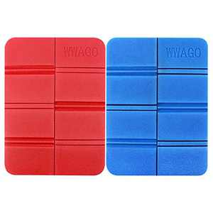 ANMAIKER Foldable Foam Mat, 2 Pcs Ultralight Portable Outdoor Sports Camping XPE Foam Mat, for Backpacking/Hiking/Snowing Shoeing/Camping/Trekking (Red and Blue)