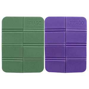 ANMAIKER Foldable Foam Mat, 2 Pcs Ultralight Portable Outdoor Sports Camping XPE Foam Mat, for Backpacking/Hiking/Snowing Shoeing/Camping/Trekking (Green and Purple)
