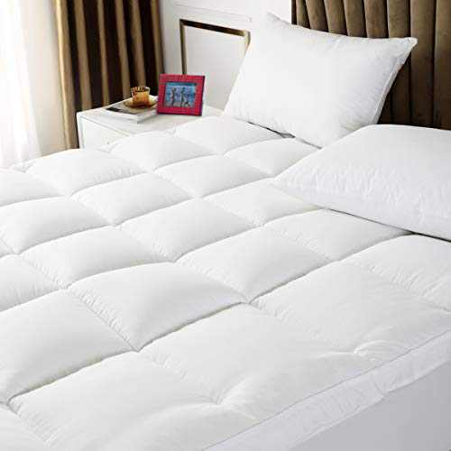 Queen Mattress Topper - Extra Thick Mattress Pad Cover - 400TC 100% Cotton Top with Breathable Spiral Fiber Filling