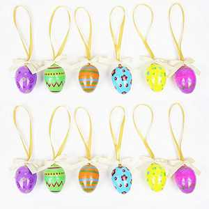 Easter Ornaments, 12pcs Hanging Easter Eggs Ornaments, Plastic Easter Egg Fillable Hanging Decorations, Easter Egg Decor for Tree Home Indoor Outdoor