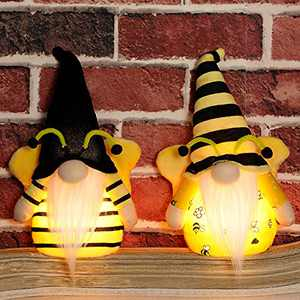 APCHFIOG Bumble Bee Gnomes with Light, 10Inch Handmade Plush Nordic Tomte Sweet Honey Bee Swedish Nisse Scandinavian Figurine for Summer Holiday Party Home Table Decorations, Set of 2