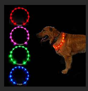 SUNET LED Dog Collars USB Rechargeable Adjustable Silicone 3 Flashing Modes Water Resistant Glowing PET Dog Collar for Night Safety Light UP Dog Collar for Small Medium Large Dogs (Blue)
