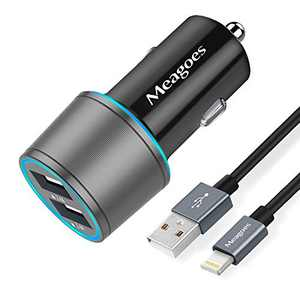 Meagoes USB Car Charger Compatible with iPhone 12/Mini/11/Pro/Max/XS/X/XR/8 Plus/8/7/6/SE 2020/SE Phone, Dual Port Charging Adapter with 3.3ft Apple MFi Certified USB to Lightning Cable Cord