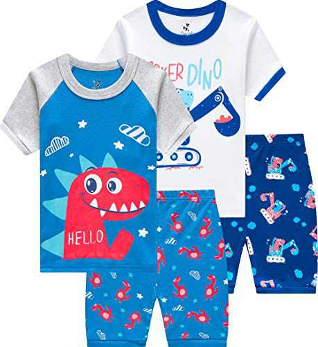 CoralBee Dinosaur Boys Pajamas Short Truck Summer Sleepwear Little Kids 4 Pieces Pjs Sets Size 6