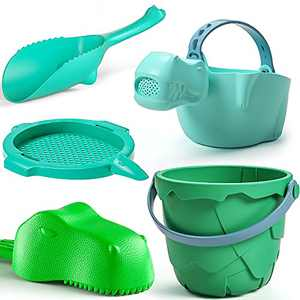 burgkidz Sand Toys Set for Kids, Toddlers Beach Toys Dinosaur Theme Series, Includes Sand Bucket Shovels Watering Can and Sand Sieve Toys for Beach