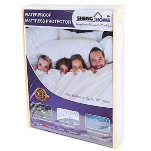 """SHENGHOME Mattress Protector Twin XL(39x80Inch) Mattress Protector Fitted 8-18"""" Deep Pocket Soft Mattress Pad Cover for Pets Kids Adults"""