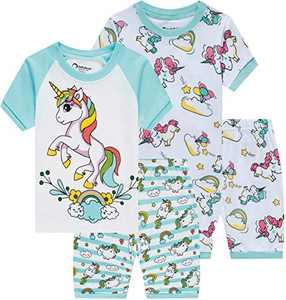 Girls Summer Pajamas Kids Unicorn Cotton Sleepwear Children Shorts Sets Size 3