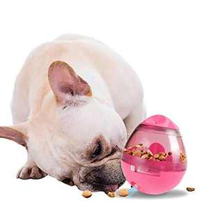 Dog Toy Ball, Nontoxic Bite Resistant Toy Ball for Pet Dogs Puppy Cat, Dog Pet Food Treat Feeder Chew Tooth Cleaning Ball Exercise Game IQ Training Ball, Dog Puzzle Toy (Pink)