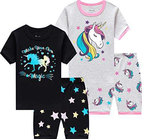 Girls Horse Pajamas Kids Cotton Unicorn Sleepwear Children Summer Shorts Sets Size 5