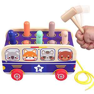 QZMTOY Pounding Car Toy with 2 Hammers,Wooden Hammer Toy for Toddlers, Pull Along Gopher Toy Toy,Toddler Learning, Active, Early Developmental Toys for 3,4 Years Old Boys and Girls Gifts