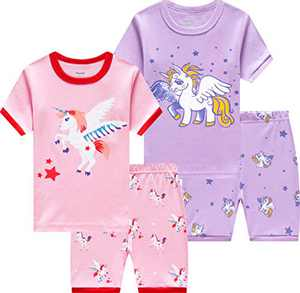 Little Girls Horse Pajamas Children Cotton Unicorn Sleepwear Toddler Kids Summer Shorts Sets Size 5