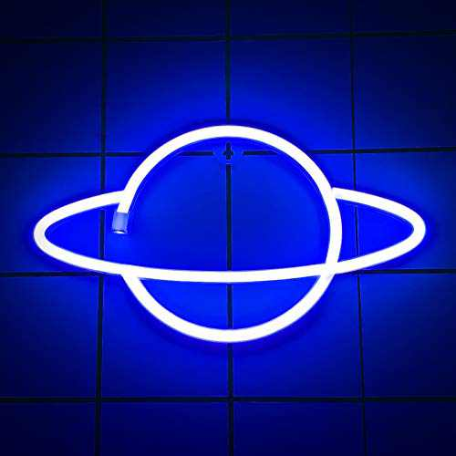 Neon Signs Lights for Wall Decor, USB or Battery Decorative Pink/Blue Planet Neon Sign LED Night Light for Bedroom, Christmas, Living Room, Kids Room, Man Cave