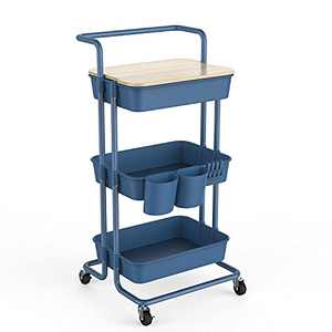 DTK 3 Tier Utility Rolling Cart with Cover Board, Rolling Storage Cart with Handle and Locking Wheels Kitchen Cart with 2 Small Baskets and 4 Hooks for Bathroom Office Balcony Living Room(Blue)