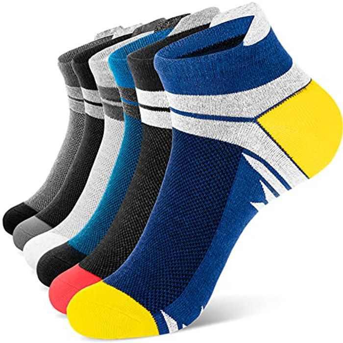Newdora Ankle Athletic Socks Mens Cotton Low Cut Socks Plain Trainer Anti-Blister Socks 6 Pairs Multipack Breathable Comfort Socks for Women Men