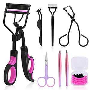 Eyelash Curler, Moduskye 7 IN 1 Eyelash Curlers Kit for Women Includes Lash Curler, Mini Lash Curler, Eyelash Extension Tweezers, Eyebrow Shear, Comb, Eyelash pliers, Refill Pads for Natural Eyelashes