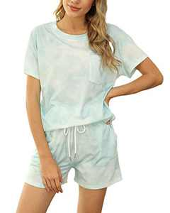 Ayreus Women's Summer Pajama Set Short Sleeve 2 Piece Sleepwear Pjs with Pocket(Tie Dye-Bluish Green,X-Large)