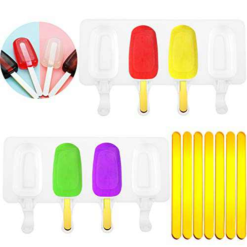 2 Pieces Silicone Popsicle Molds with 30 Pieces Acrylic Cake Popsicle Sticks, 4 Cavities Homemade Cake Molds Silicone Cake Pop Molds for DIY Ice Cream