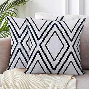 SIBOSUN Set of 2 Boho Decorative Throw Pillow Covers 18x18 Inches Square Polyester Blend Cotton Soft Fuzzy Cute White Pillowcase for Home Decor, Sofa, Bedroom, Car, Black and Wihte