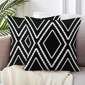 SIBOSUN Set of 2 Lumbar Pillow Covers Boho Polyester Blend Decorative Throw Pillow Covers for Sofa Couch Bed Decor 18x18 Inches Set of 2 Pillow case with Stripes on Both Sides