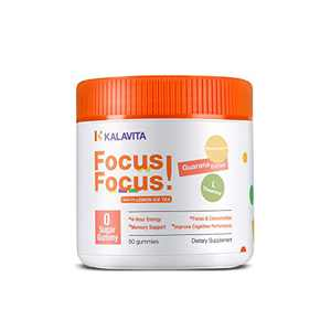 KalaVita Sugar Free Focus Gummy Stay on Task, Chewable Supplement for Concentration, Energy, and Memory Support, Lemon Iced Tea 0 Sugar Vegan Gummy, Guarana Extract Neumentix L-Theanine B12, 50 Count