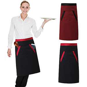 Cooking Aprons, 2 Pack Half Waist Apron with 2 Pockets-Men and Women for Home Cooking,Waiters,Crafts,Garden, 27 x 27-inch, Black and Red