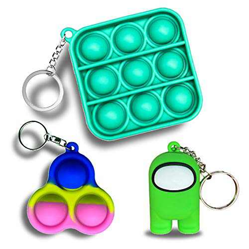 JANESVISSY Mini Fidget Toys Keychain, Simple Dimple Push pop Bubble Figetget Toys Pack, Green Among Us Toys Sensory Stress Relief Gifts for Boys and Girls(3Pack)
