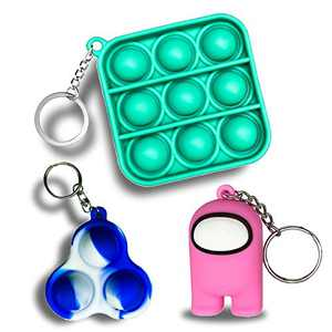 JANESVISSY Mini Fidget Toys Keychain, Simple Dimple Push pop Bubble Figetget Toys Pack, Pink Among Us Toys Sensory Stress Relief Gifts for Boys and Girls(3Pack)