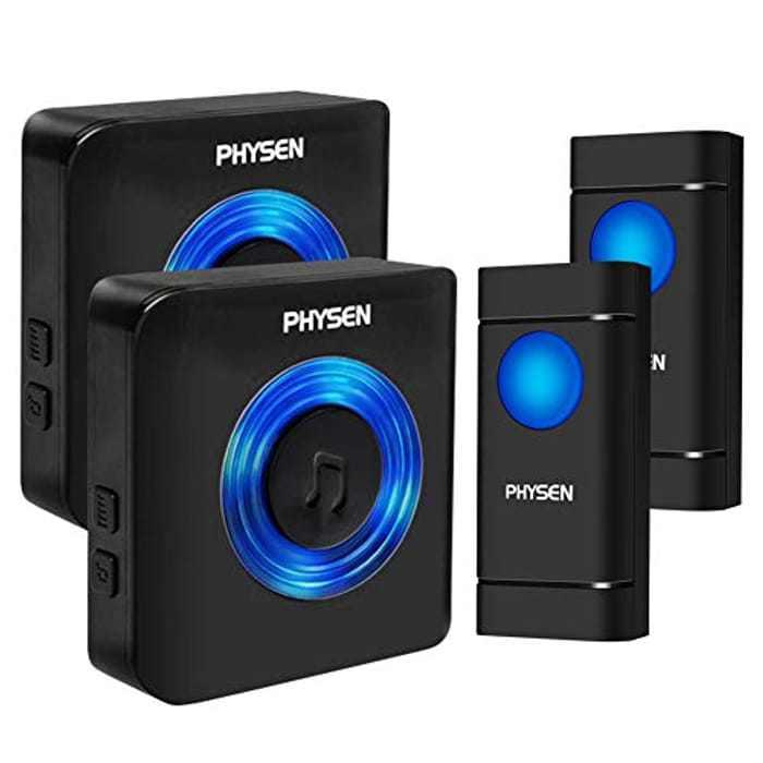 Wireless Doorbell, PHYSEN 1000ft Long Range Door Bells, IP55 Waterproof Doorbell, 2 Push Buttons & 2 Plug in Receivers Cordless Door Chime Kit, 58 Chimes, 5 Volume Levels, Mute Mode, Blue LED Light