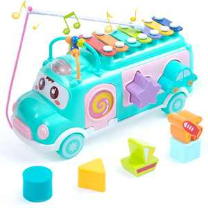 UNIH School Bus Toy, Push Infant Toy Xylophone Percussion with Safe Mallets, Learning Educational Musical Toys for Baby & Toddler, Blocks for Boys and Girls Birthday Favors